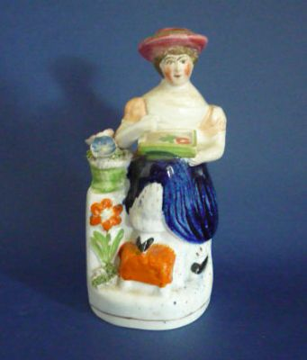 Early Victorian Staffordshire Figure of Mrs Amelia Jenks Bloomer c1850